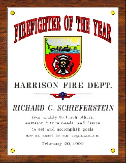 FIREFIGHTER OF THE YEAR PLAQUE - Product Image
