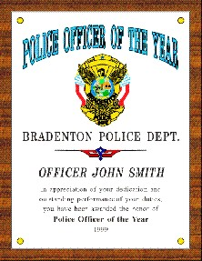 POLICE OFFICER OF THE YEAR PLAQUE - Product Image