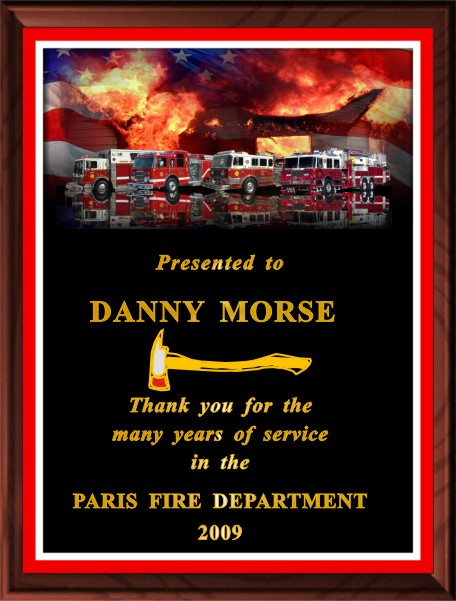 FIREFIGHTER OF THE YEAR PLAQUE BLACK - Product Image