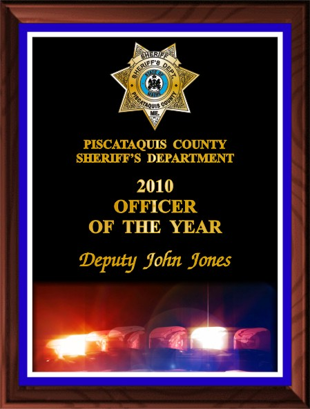 POLICE OFFICER OF THE YEAR PLAQUE BLACK - Product Image