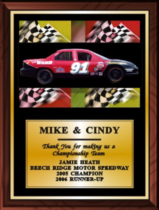 RACE CAR COLOR PLAQUE - Product Image