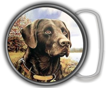 CHOCOLATE LAB BUCKLE ROUND - Product Image