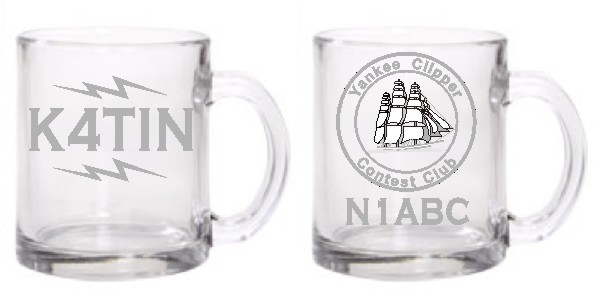 COFFEE MUG GLASS 12 OZ HAM RADIO - Product Image