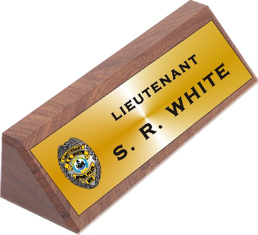 DESK NAME PLATE WALNUT - Product Image