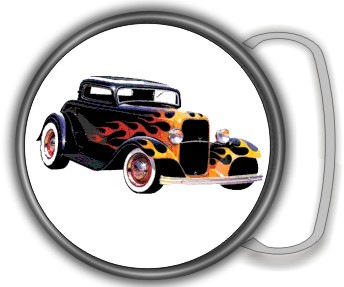 HOT ROD FLAME BUCKLE ROUND - Product Image
