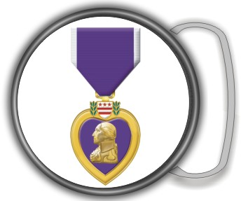 PURPLE HEART FLAME BUCKLE ROUND - Product Image