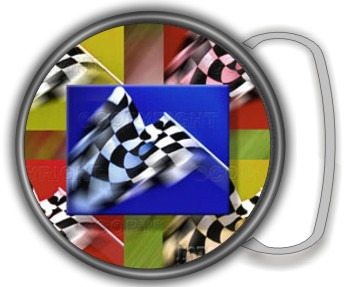 RACING FLAGS BUCKLE ROUND - Product Image
