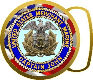 US MERCHANT MARINE SEAL BUCKLE ROUND - Product Image