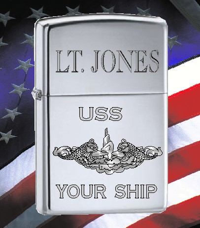 ZIPPO LIGHTER US NAVY SUBMARINE CREST - Product Image