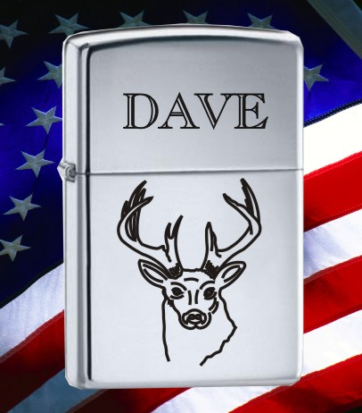 ZIPPO LIGHTER WITH DEER BUCK DESIGN - Product Image
