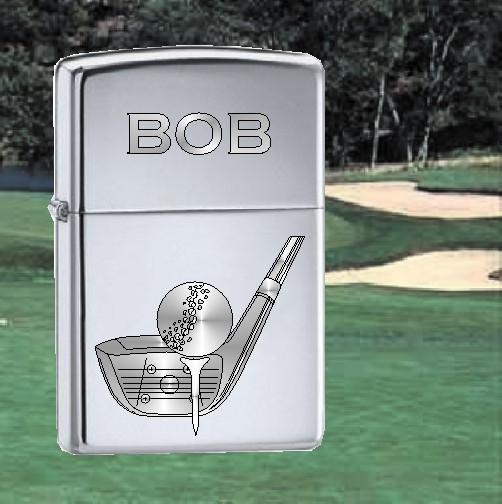 ZIPPO LIGHTER WITH GOLF DESIGN - Product Image
