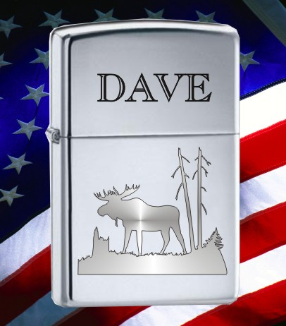 ZIPPO LIGHTER WITH MOOSE DESIGN - Product Image