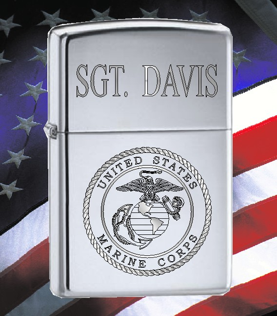 ZIPPO LIGHTER WITH U S MARINES LOGO - Product Image