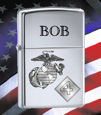 ZIPPO LIGHTER U S MARINES 4TH INF DIV LOGO - Product Image