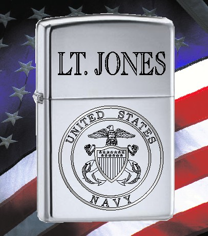 ZIPPO LIGHTER WITH U S NAVY LOGO - Product Image